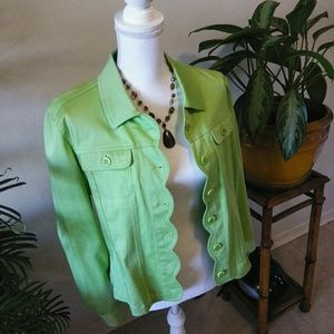 "- ""Tribal"" Apple green button front jacket"